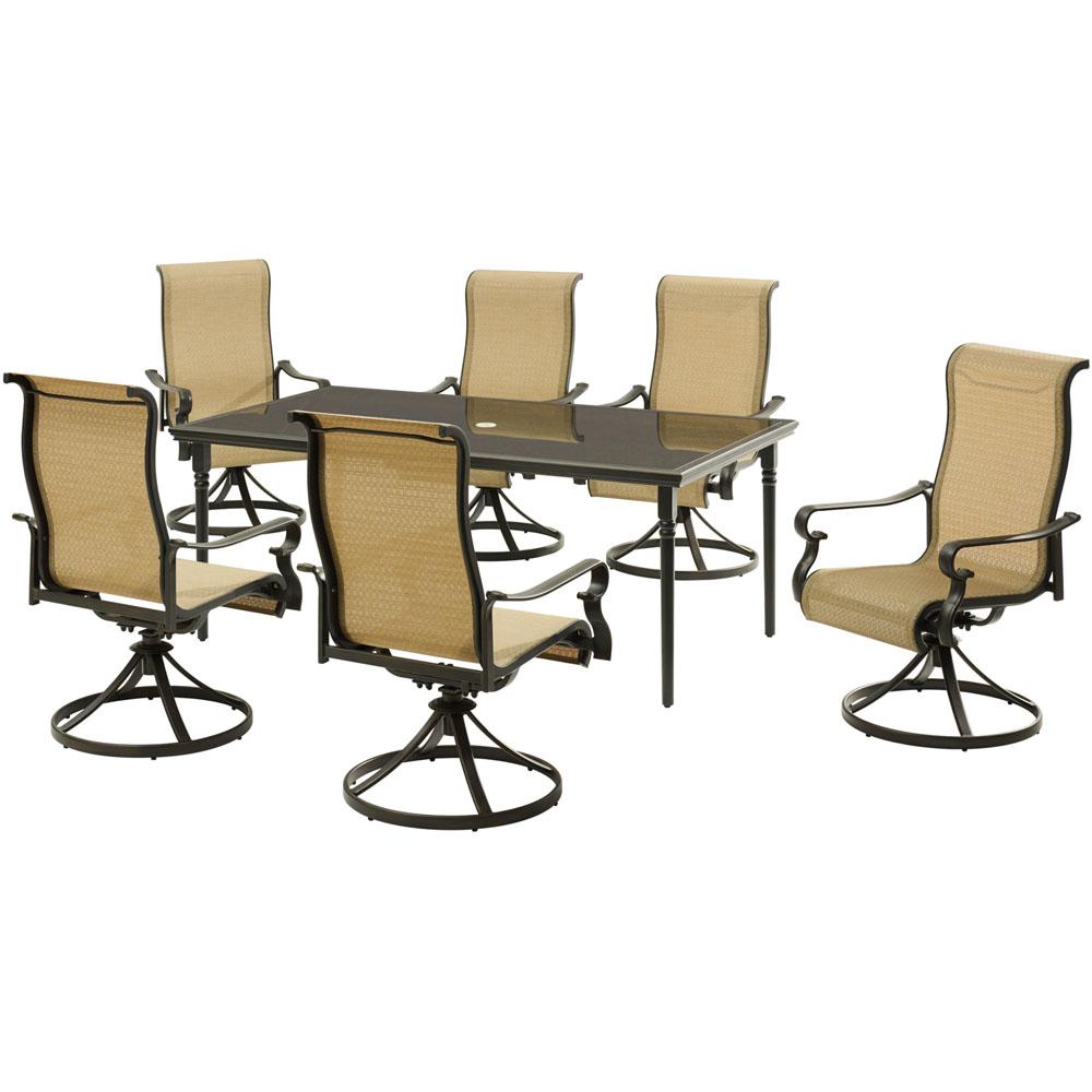 "Brigantine7pc: 6 Sling Swivel Rockers, 40x70"" Glass Dining Table"
