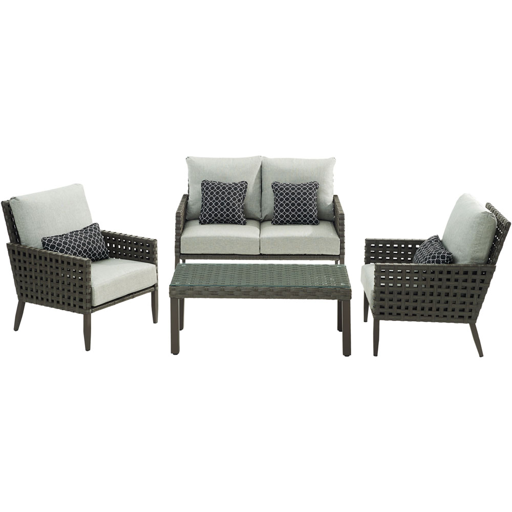 Archer4pc Seating Set: Loveseat, 2 Side Chairs, Woven/Glass Coffee Table