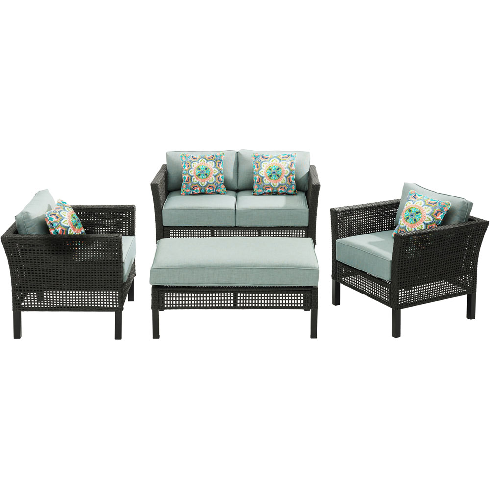 Malta4pc Seating Set: Loveseat, 2 Side Chairs, Woven/Cush Ottoman/Table