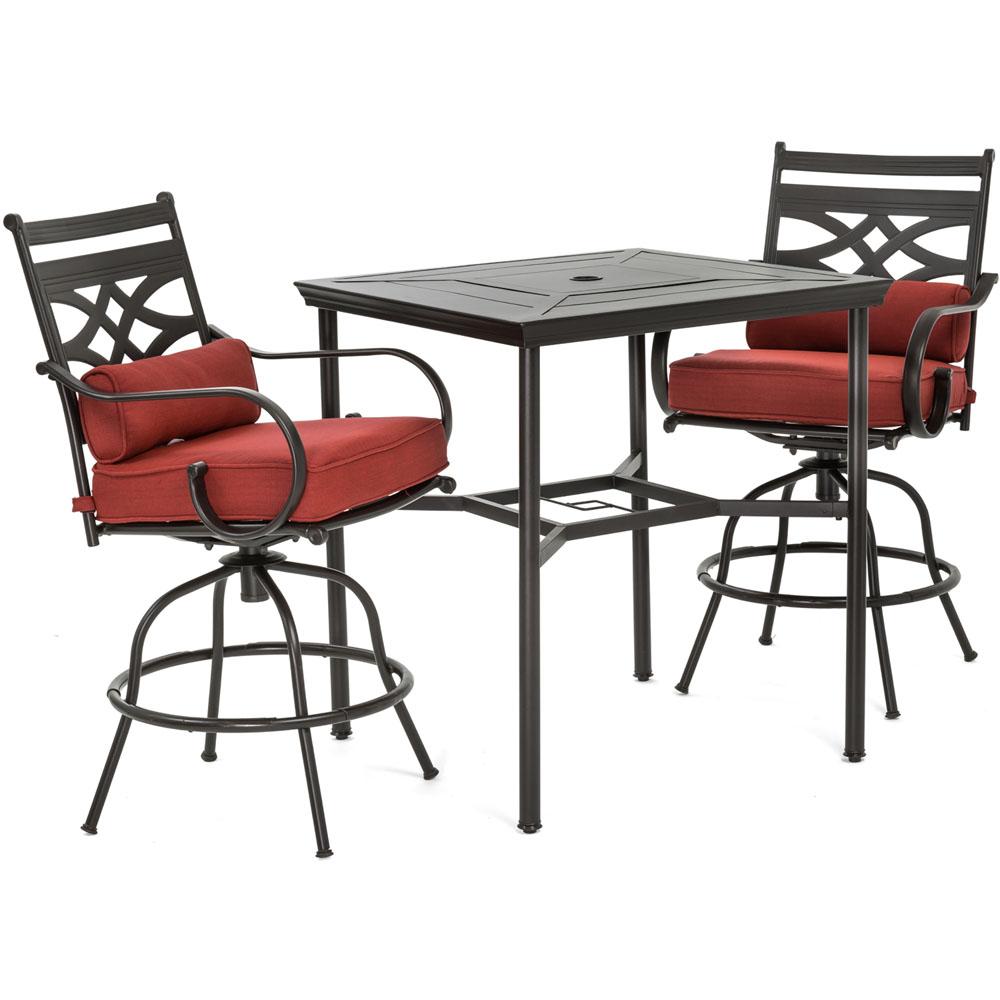 "Montclair 3pc High Dining: 2 Swivel Chairs, 33"" Sq High Dining Table"