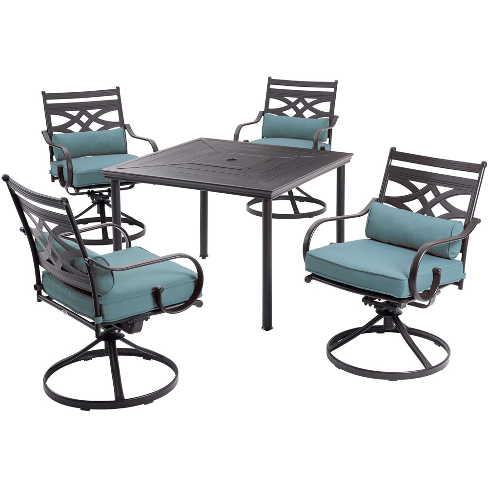 "Montclair 5pc: 4 Swivel Rockers, 40"" Square Dining Table"