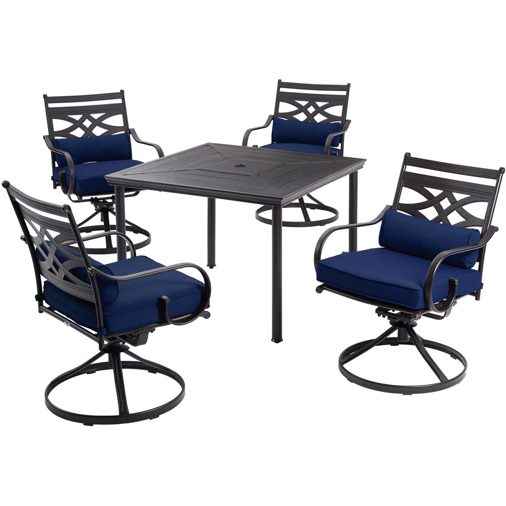 "Montclair5pc: 4 Swivel Rockers, 40"" Square Dining Table"