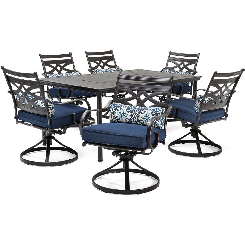 "Montclair7pc: 6 Swivel Rockers, 40x66"" Dining Table"