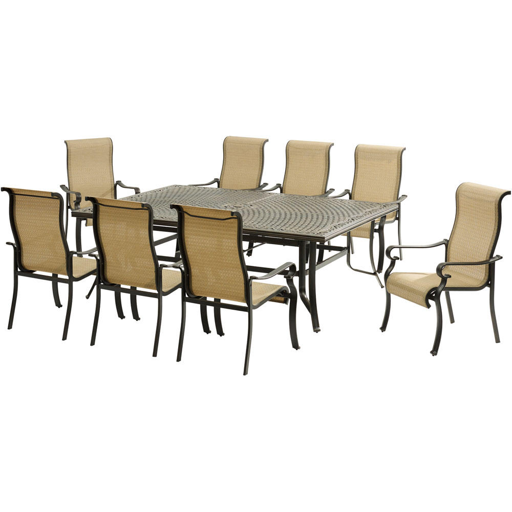 """Brigantine9pc:8 Sling Dining Chairs, 60x84"""" Cast Dining Table"""
