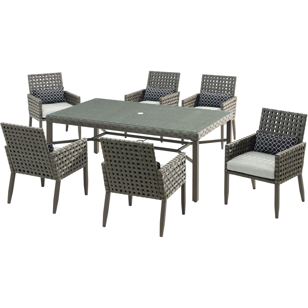"Archer7pc Dining Set: 6 Woven Dining Chairs, 42x72"" Dining Table"