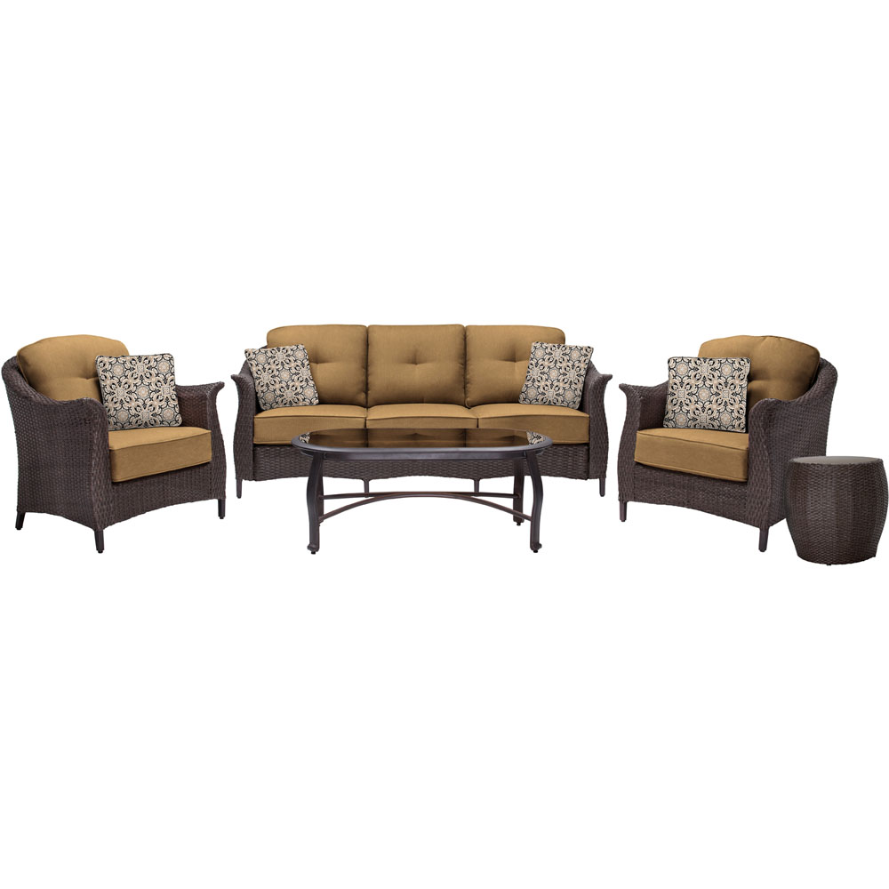 Gramercy 5PC: 1 Sofa, 2 Chairs ,1 Glass Top Coffee Table, and End Table