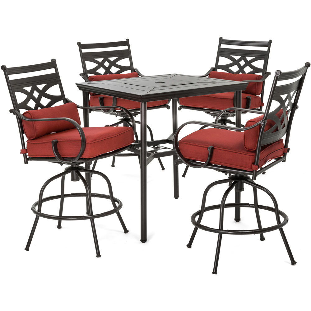 """Montclair5pc High Dining: 4 Swivel Chairs, 33"""" Sq High Dining Table"""