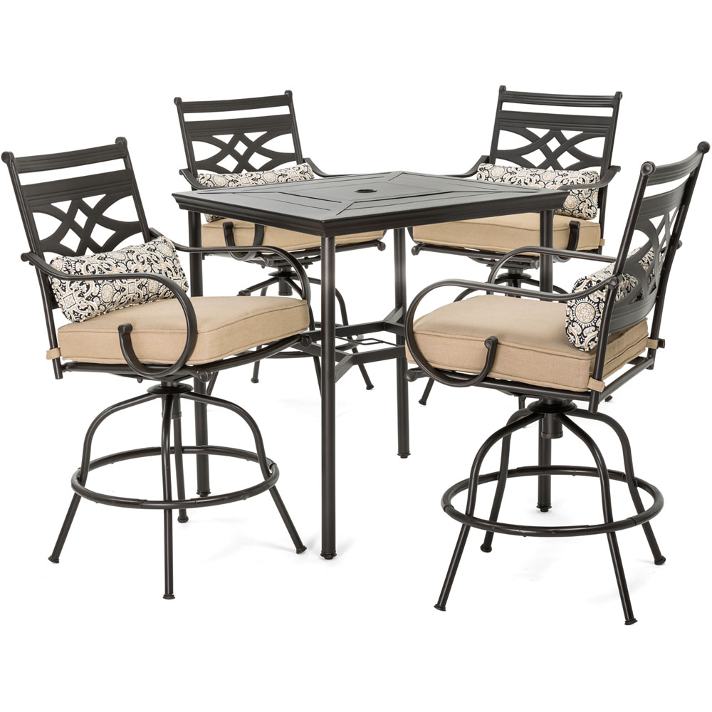 "Montclair5pc High Dining: 4 Swivel Chairs, 33"" Sq High Dining Table"
