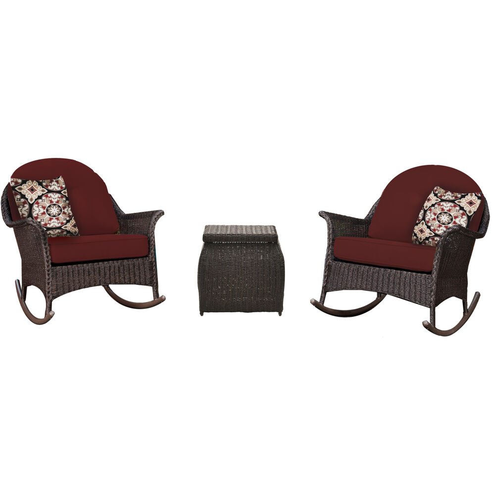 Sun Porch 3pc Set: 2 Woven Rocking Chairs and Side Table