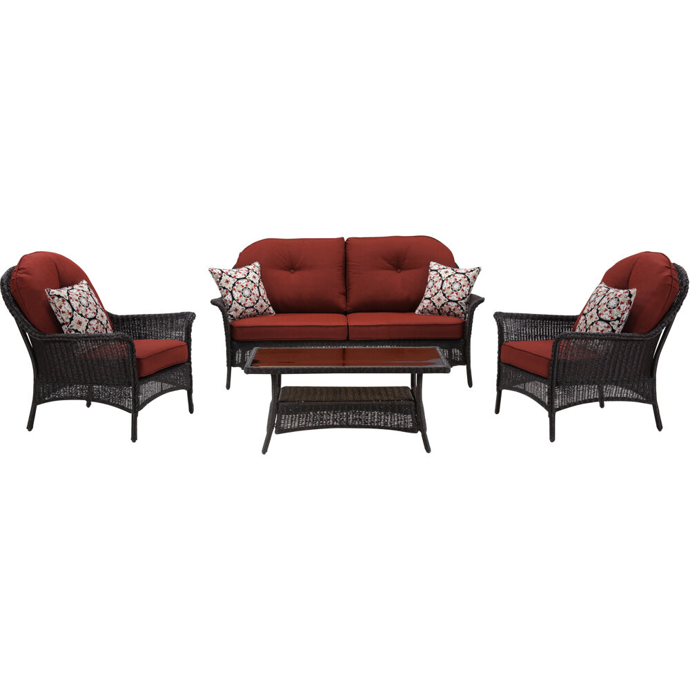 Sun Porch 4pc Set: 1 Loveseat, 2 Side Chairs and Coffee Table