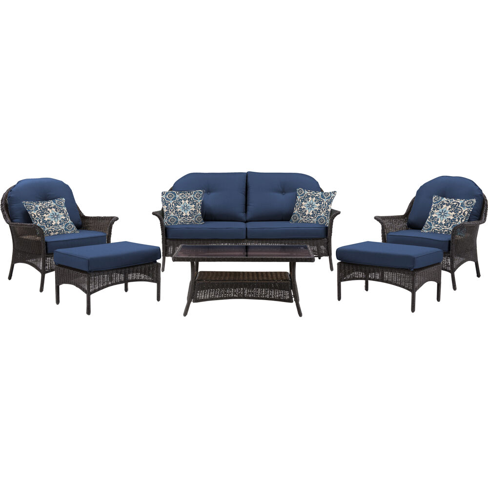 Sun Porch 6pc Set: 1 Loveseat, 2 Side Chairs, 2 Ottomans & Coffee Tbl