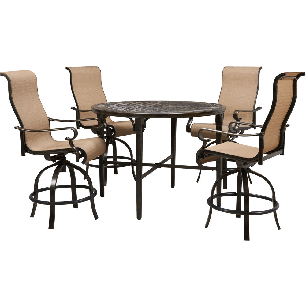 "Brigantine5pc: 4 Swivel Bar Chairs and 50"" Round Bar Table"