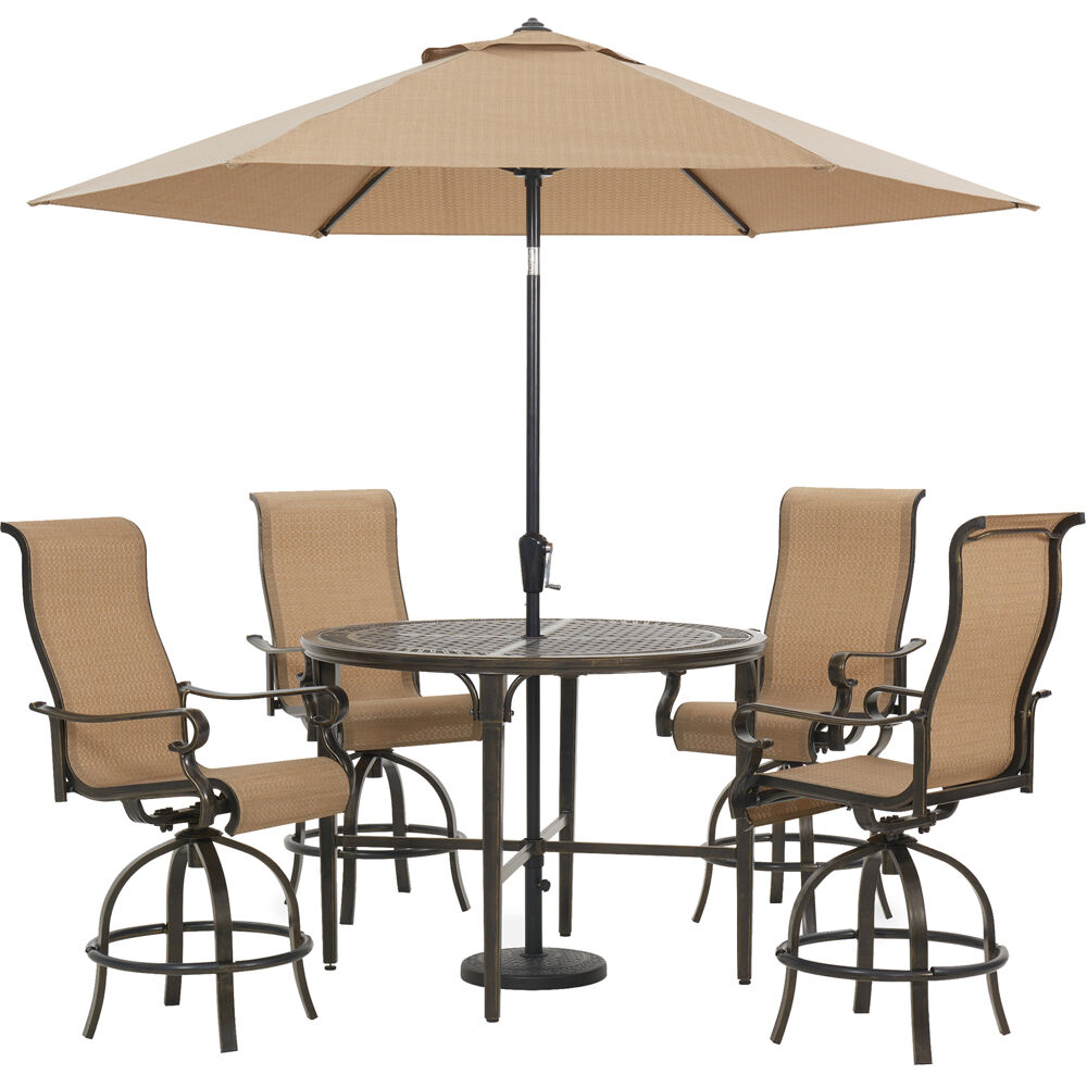 "Brigantine5pc: 4 Swivel Bar Chairs, 50"" Round Bar Tbl, Umb & Base"