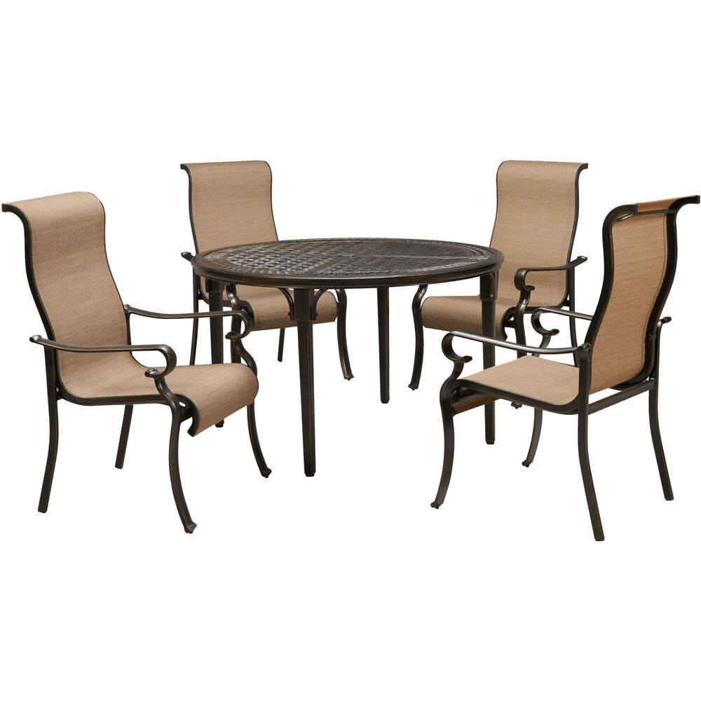 "Brigantine5pc: 4 Sling Dining Chairs and 50"" Round Cast Table"