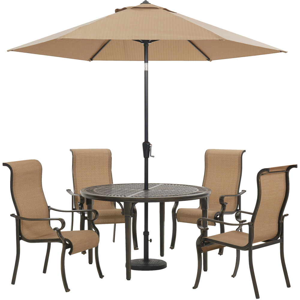 "Brigantine5pc: 4 Sling Dining Chairs, 50"" Round Cast Tbl, Umb & Base"