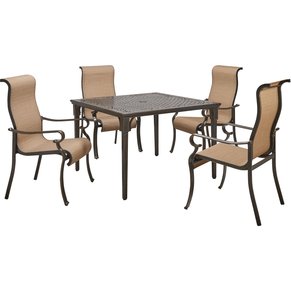 "Brigantine5pc: 4 Sling Dining Chairs and 42"" Square Cast Table"
