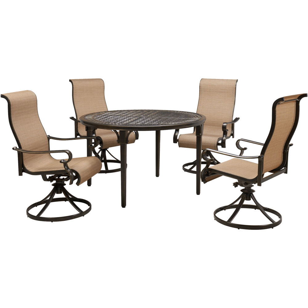"Brigantine5pc: 4 Sling Swivel Chairs and 50"" Round Cast Table"