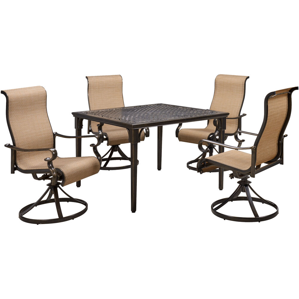 "Brigantine5pc: 4 Sling Swivel Chairs and 42"" Square Cast Table"
