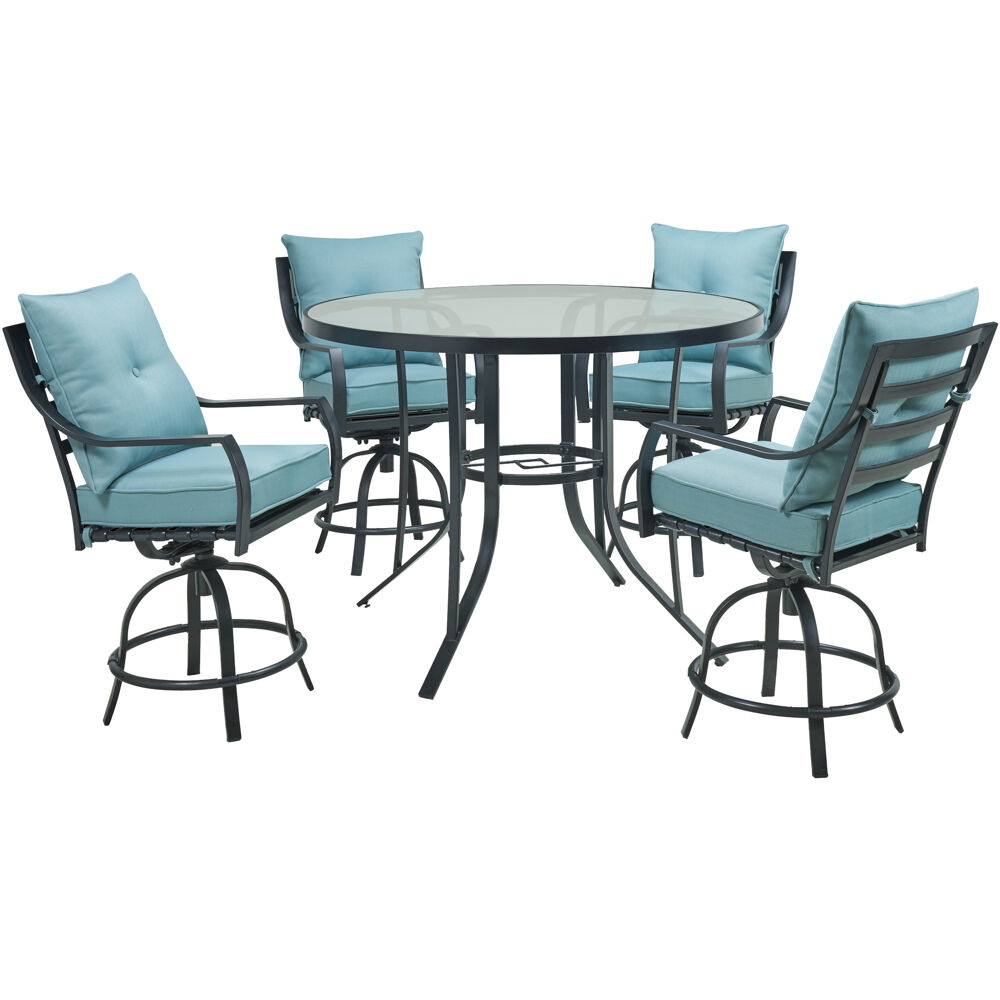 Lavallette5pc: 4 Swivel Bar Chairs and Bar Glass Table