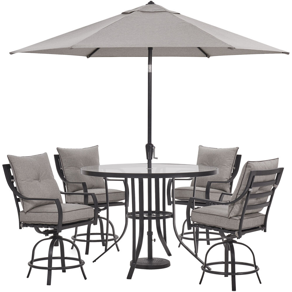 Lavallette5pc: 4 Swivel Bar Chairs, Bar Glass Tbl, Umbrella & Base