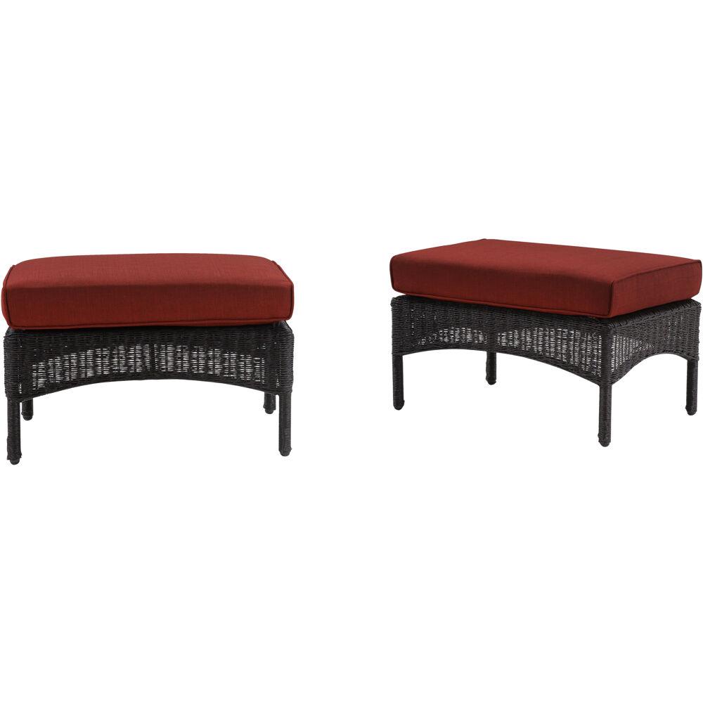 San Marino Ottoman Set: 2 Woven Ottomans with Cushions