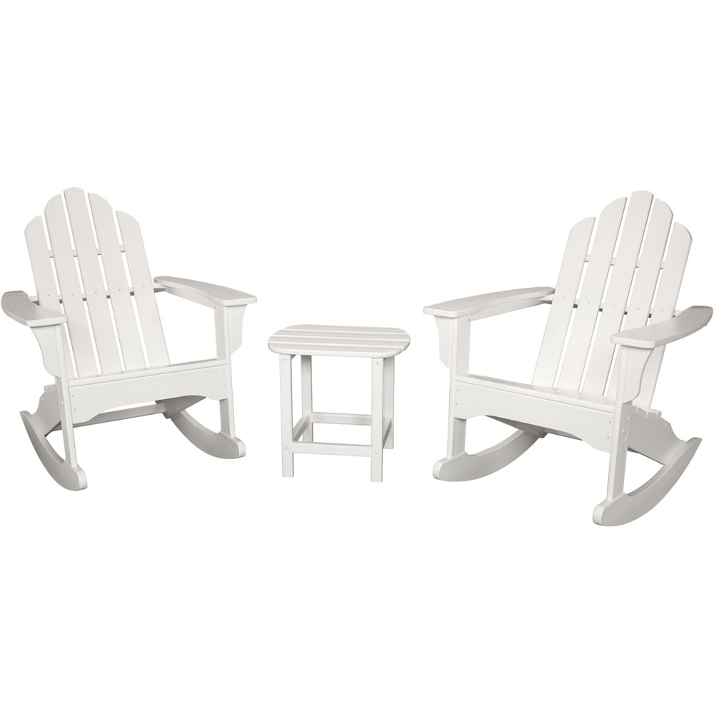 "Hanover All-Weather 3pc Rocking Chair Set: 2 Ad.Chairs, 19""x15"" Tbl"