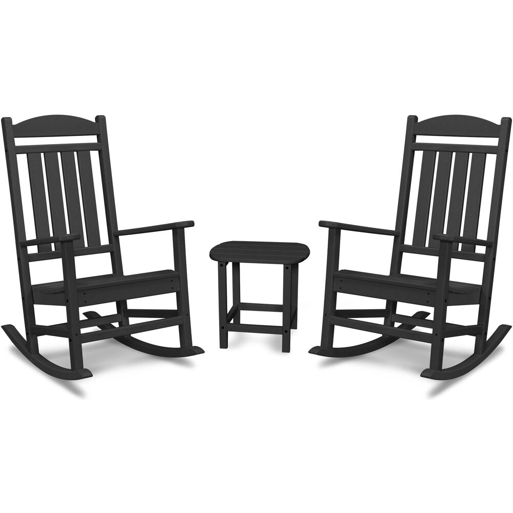 Hanover All-Weather Porch Rocker Set: 2 Porch Rockers and Side Table
