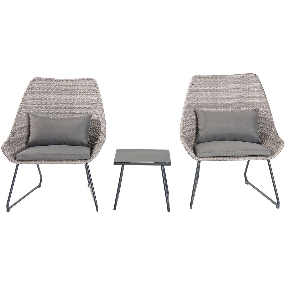 3pc Seating Set: 2 steel side chairs, accent table