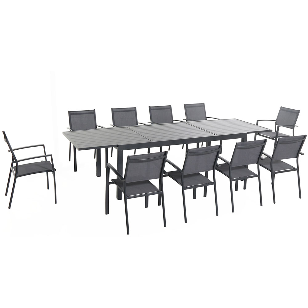 Naples 11pc Dining Set: 10 Sling Back Chairs, 1 Aluminum Table