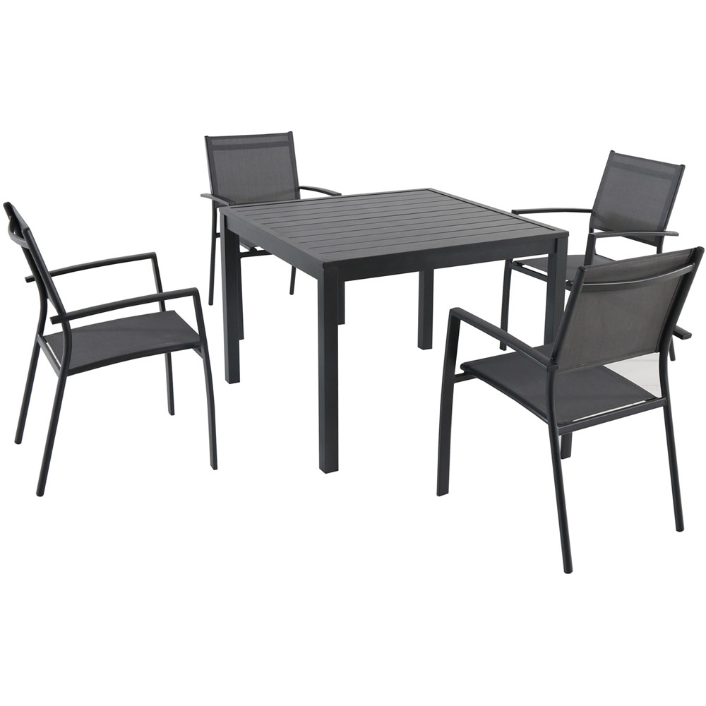 5pc Dining set: 4 alum sling dining chairs, sq slat top dining table