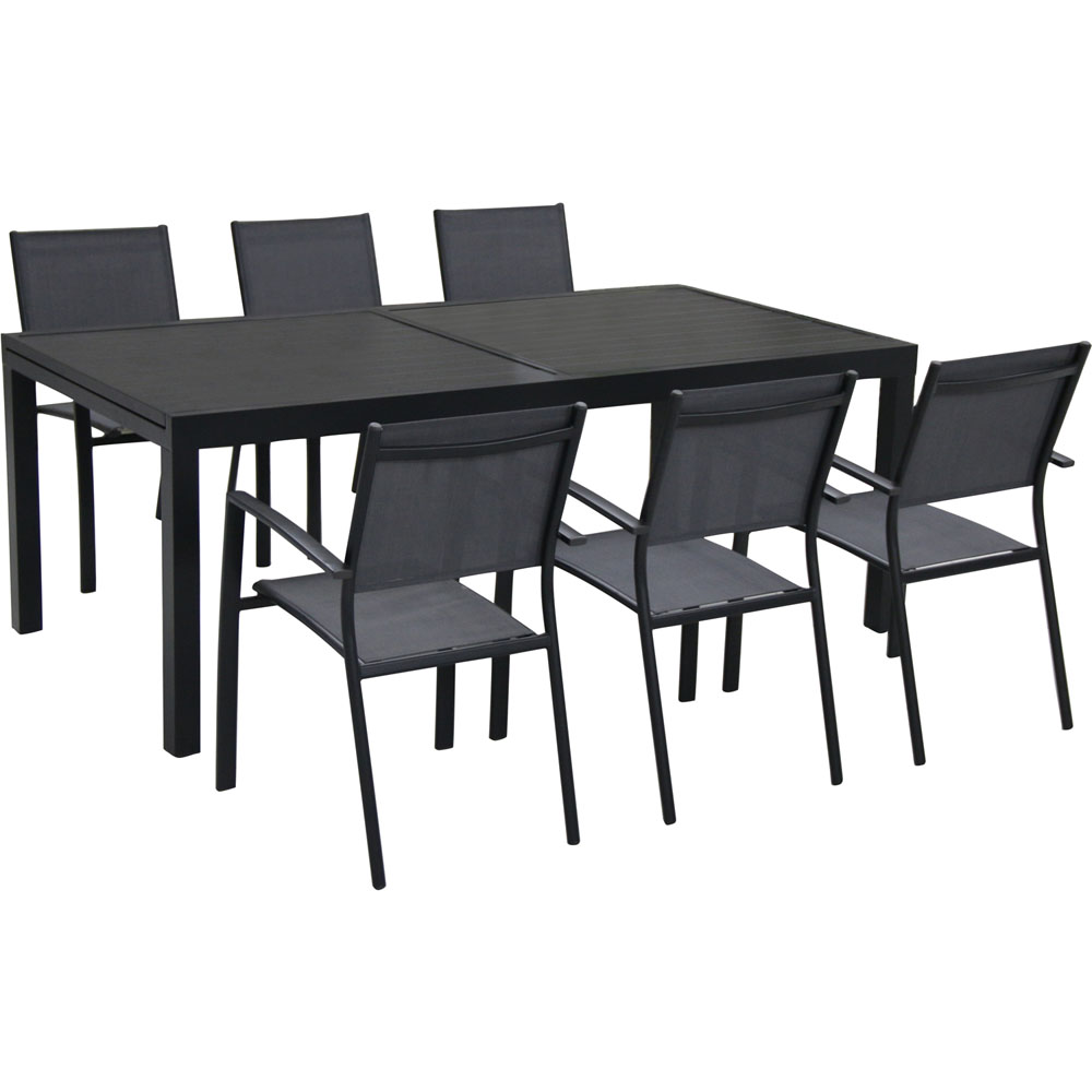 Naples 7pc Dining Set: 6 Sling Back Chairs, 1 Aluminum Table