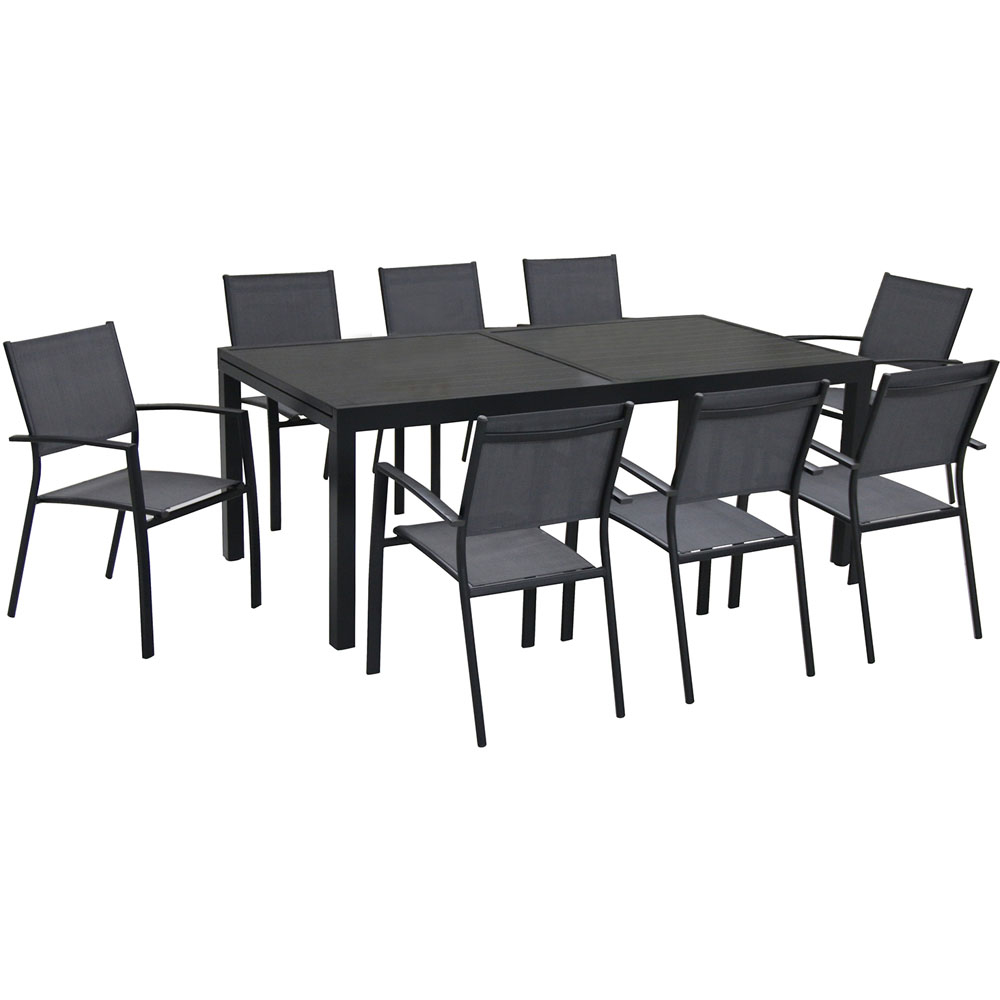 Naples 9pc Dining Set: 8 Sling Back Chairs, 1 Aluminum Table