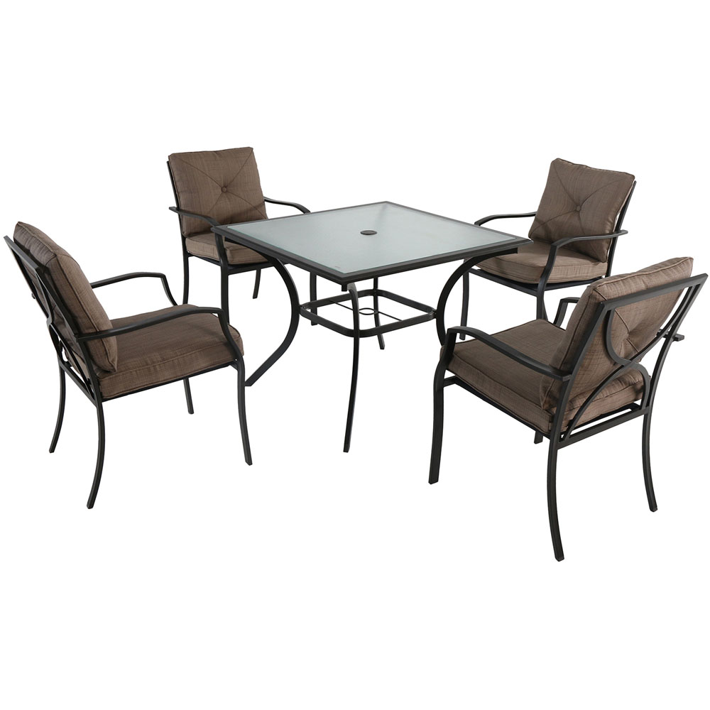 "5pc Dining Set: 4 steel dining chairs w/cushions, 38"" sq glass table"