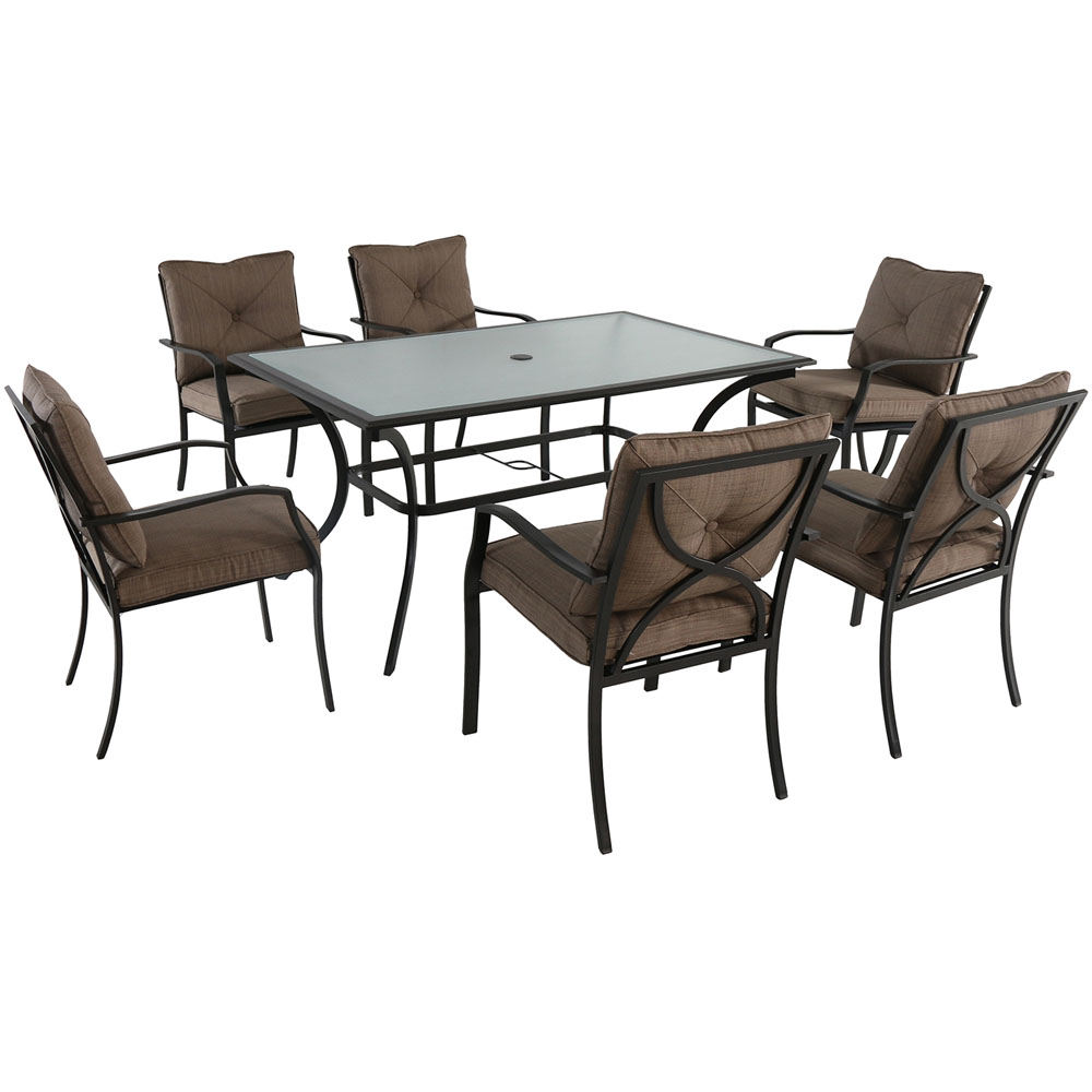 "7pc Dining Set: 6 steel dining chairs w/cushions, 60x38"" glass table"