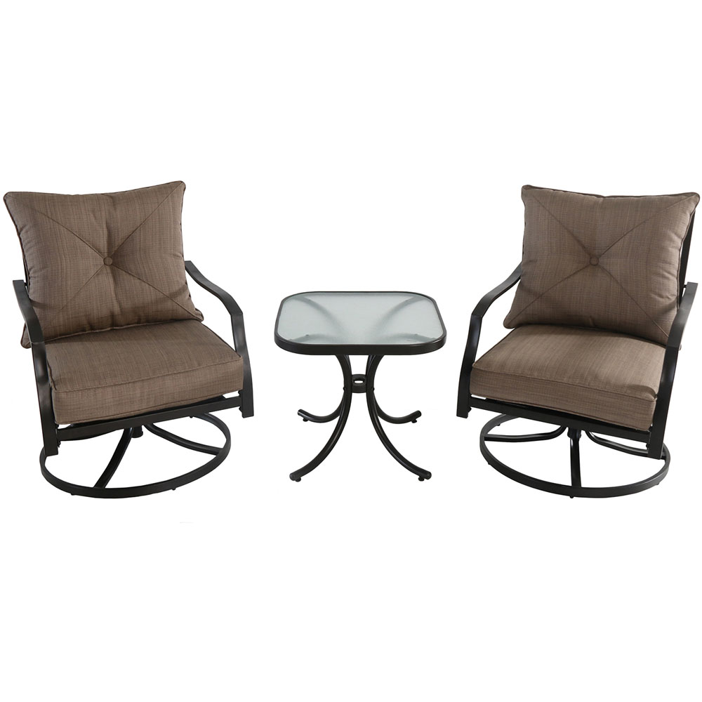 3pc Seating Set: 2 steel swivel rockers, glass side table