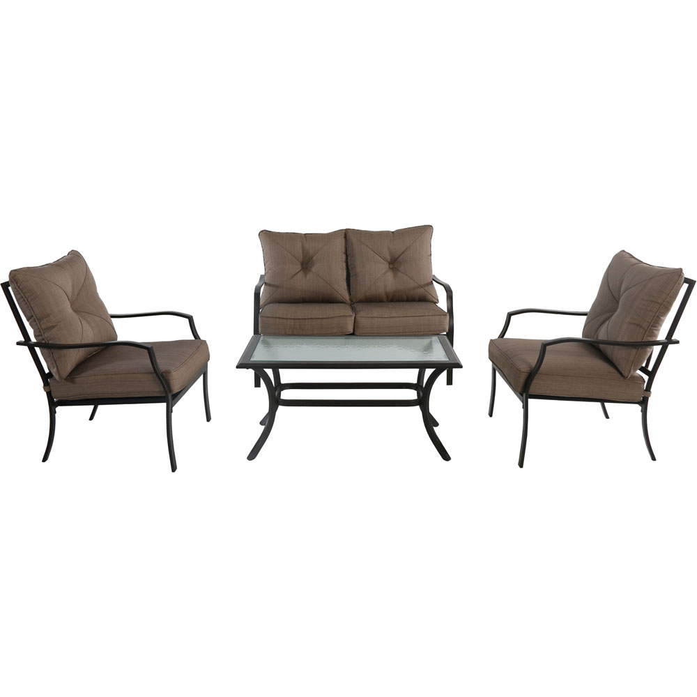 Palm Bay 4pc Steel Seating Set: Loveseat, 2 Side Chairs, Coffee Table