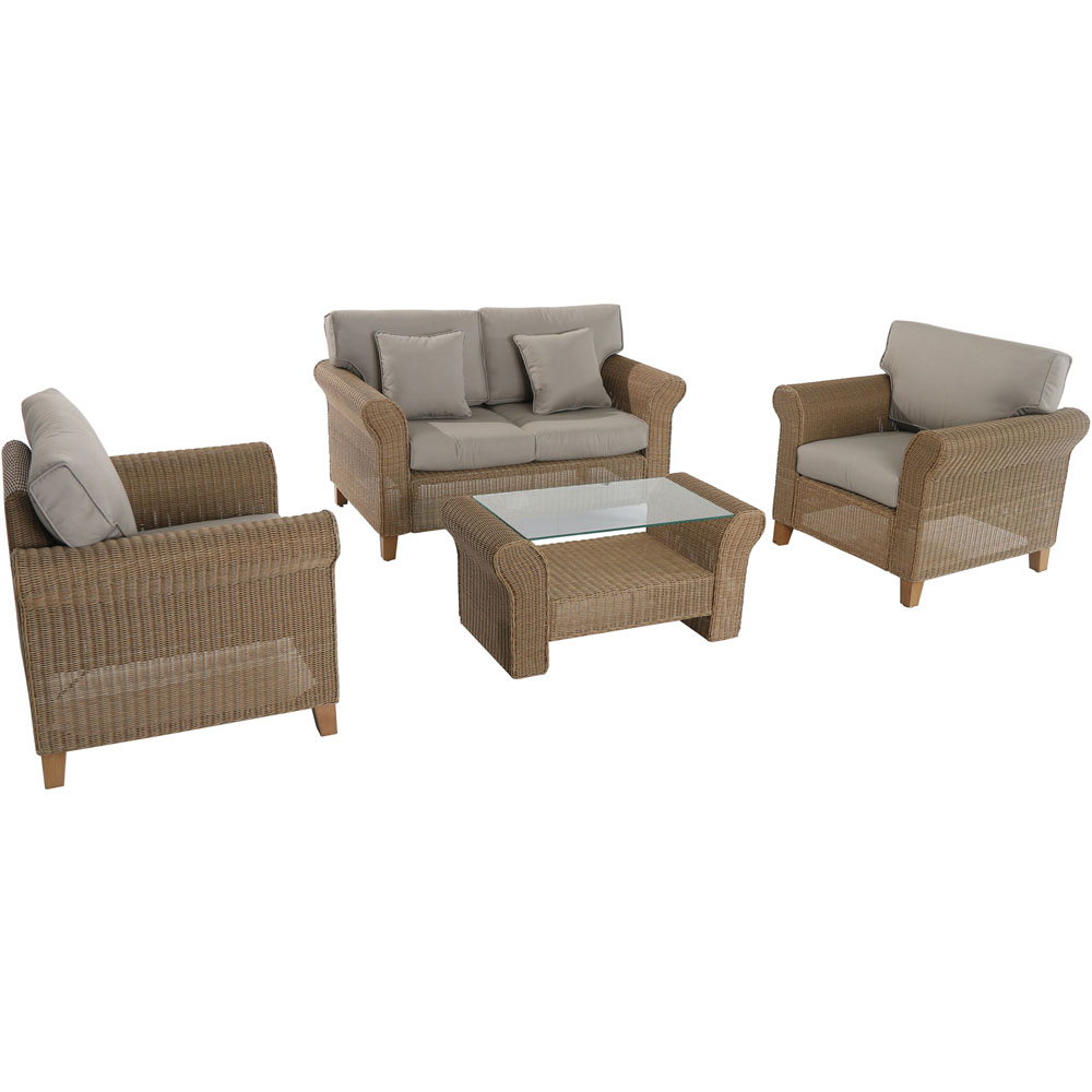 Sea Breeze 4pc Steel Seating Set:Loveseat,2 Side Chairs,Coffee Table