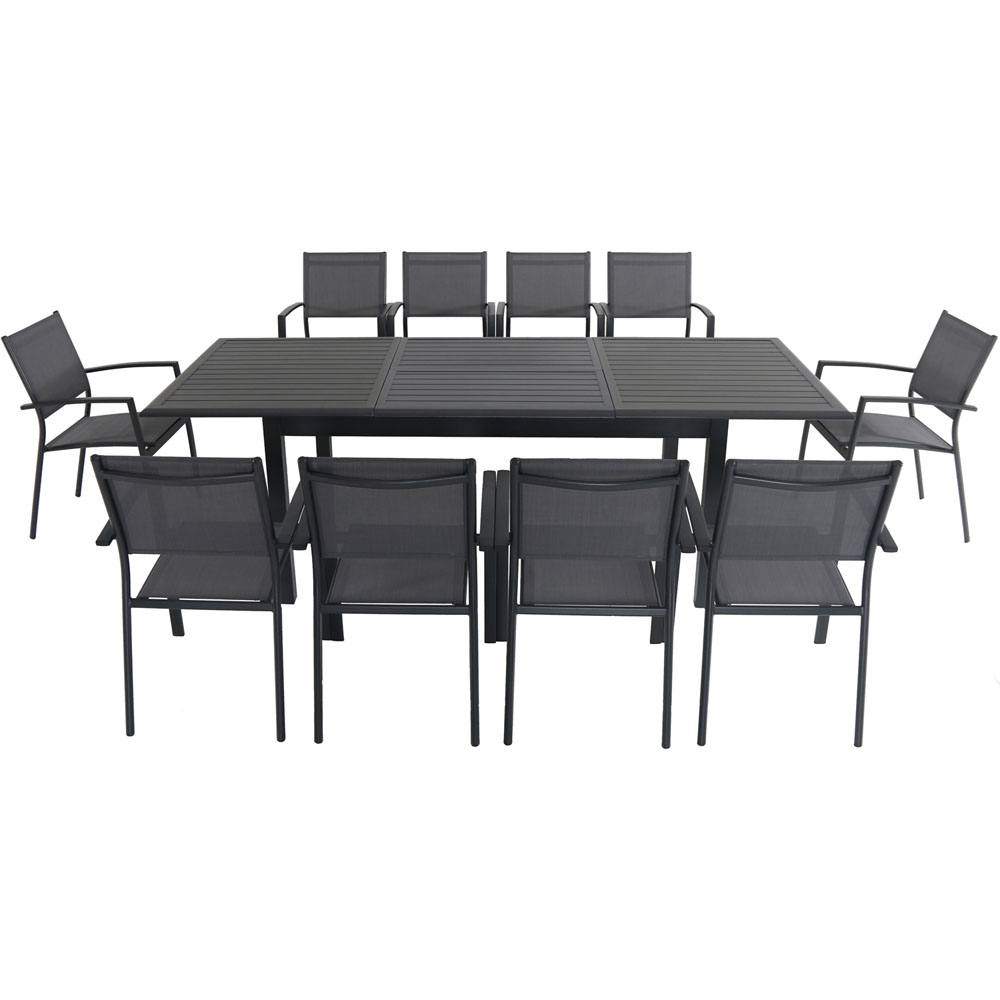 """Cameron11pc: 10 Aluminum Sling Chairs, 63-94"""" Aluminum Extension Table"""