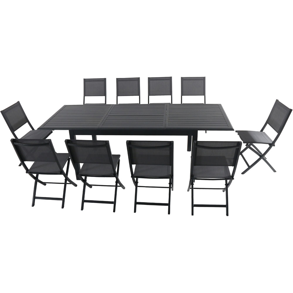 """Cameron11pc: 10 Aluminum Sling Folding Chairs, 63-94"""" Alum Extension Table"""