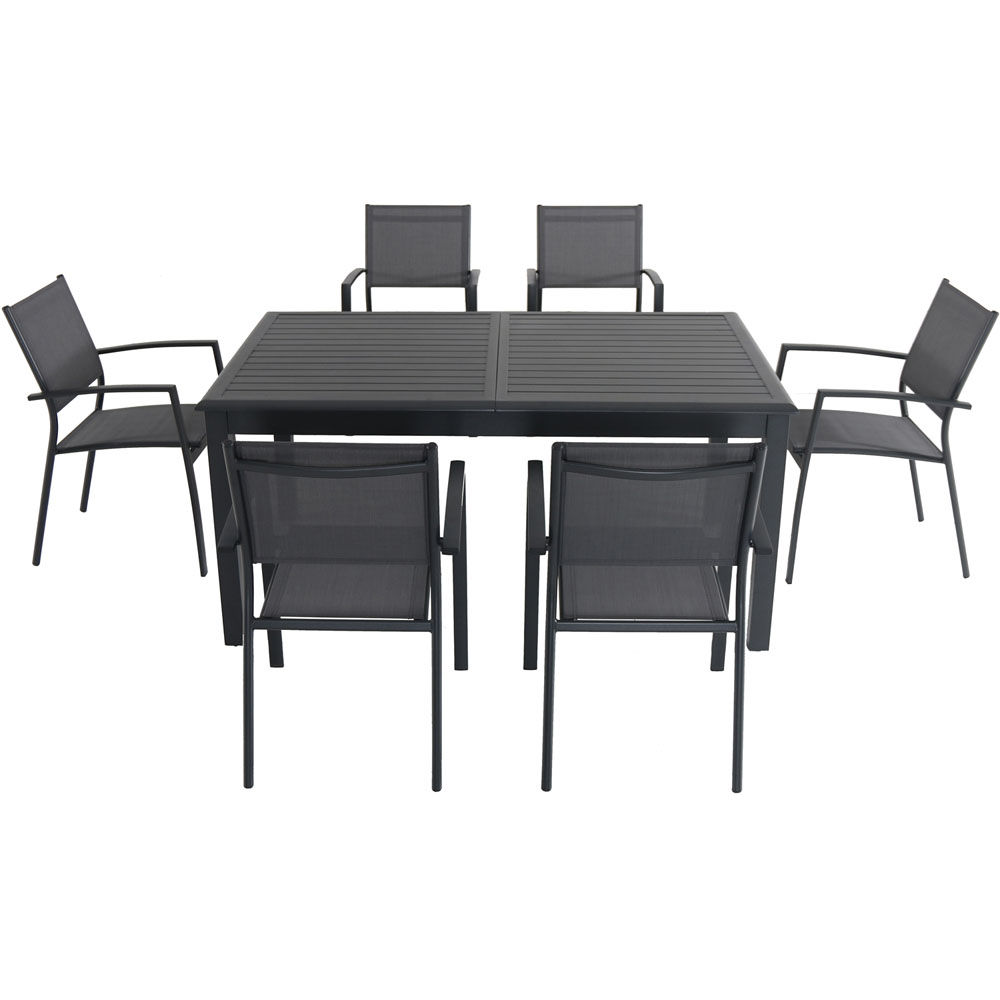 """Cameron7pc: 6 Aluminum Sling Chairs, 63-94"""" Aluminum Extension Table"""