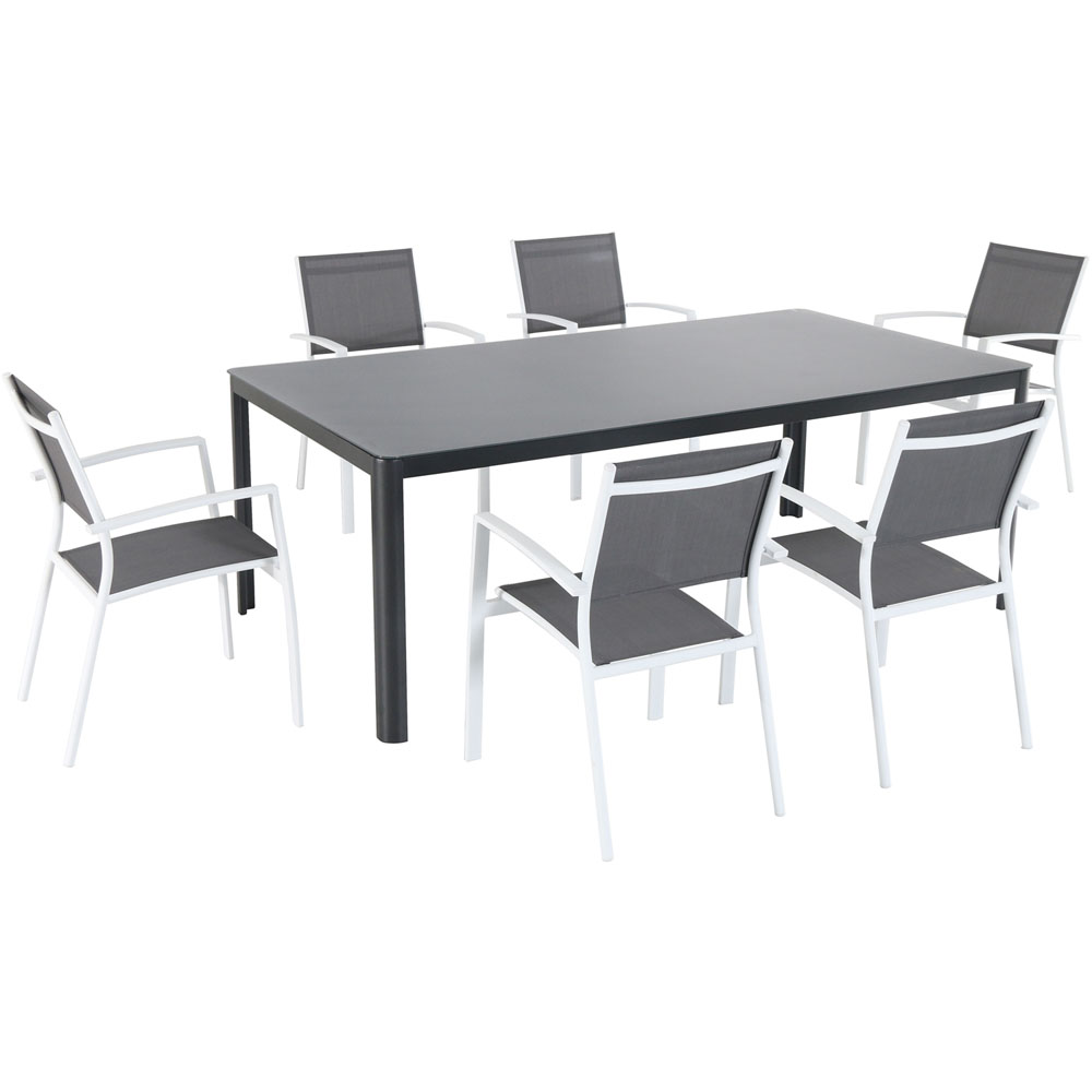 "Fresno7pc: 6 Aluminum Sling Chairs, 82x43"" Glass Top Table"