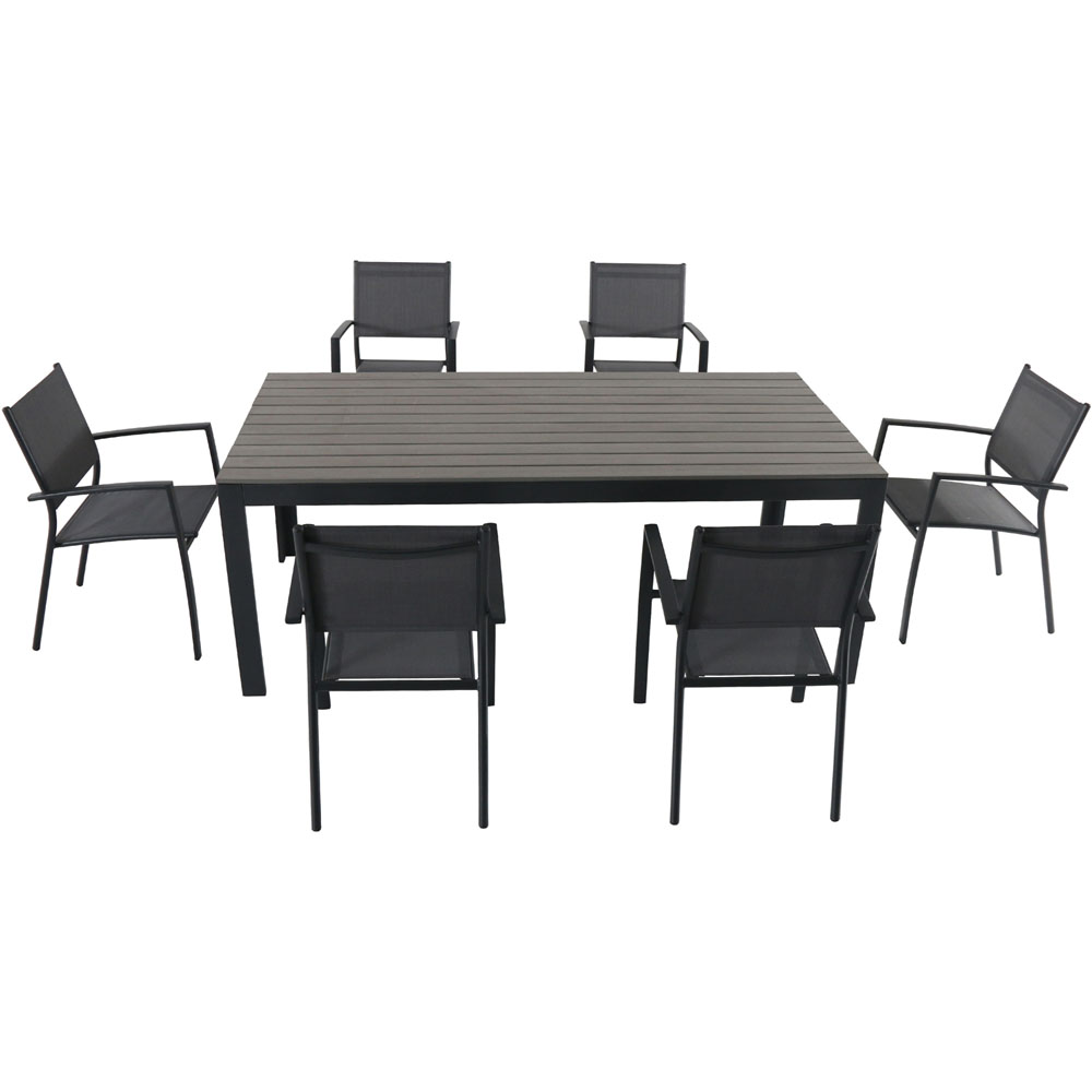 Tucson7pc: 6 Aluminum Sling Chairs, Faux Wood Dining Table