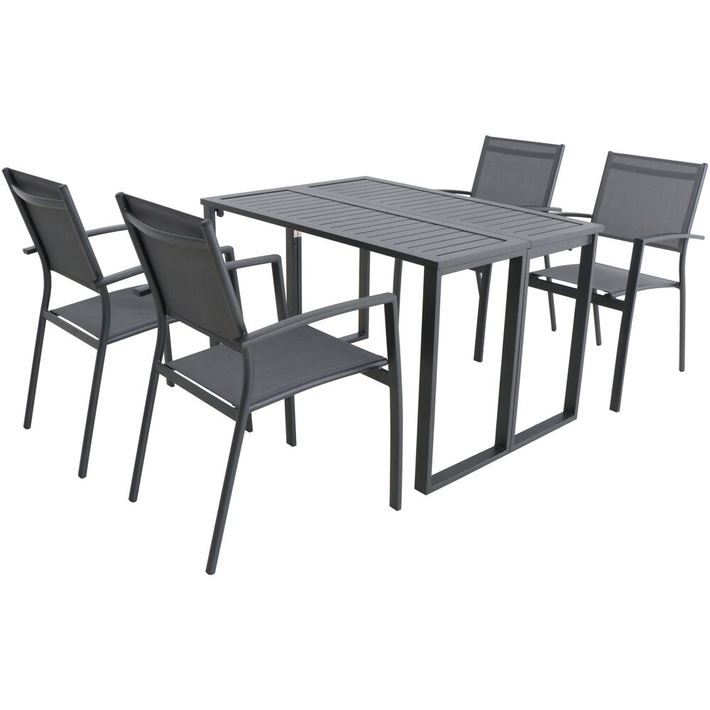Conrad 5pc Dining Set: 4 Alum Sling Chairs and Folding Table