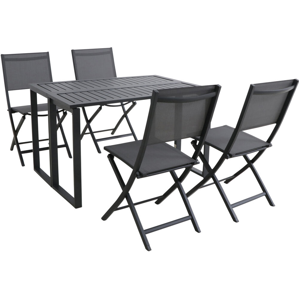 Conrad 5pc Dining Set: 4 Sling Foling Chairs and Folding Table