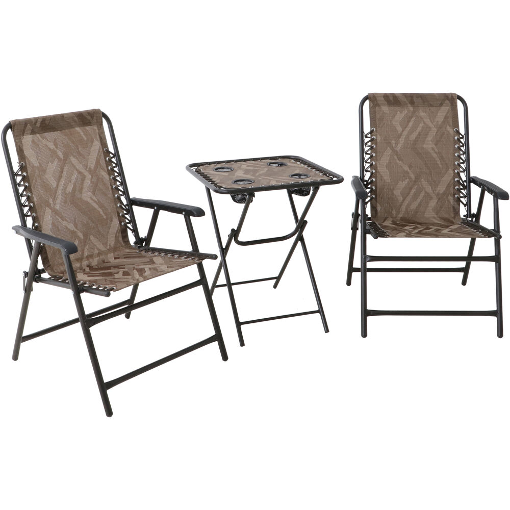 Elkhorn 3pc Set: 2 Camo Folding Chairs and Camo Folding Side Tbl