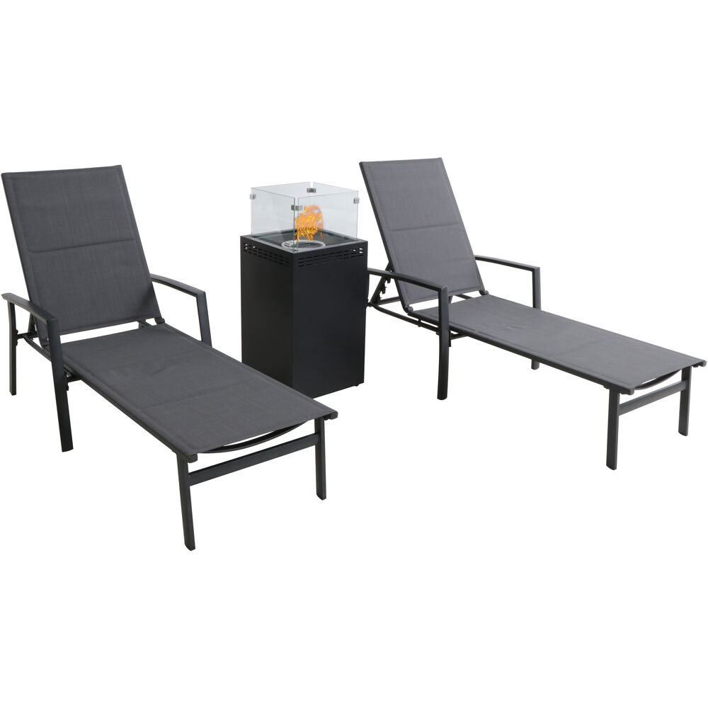 Halsted 3pc Set: 2 Padded Lounge Chaises with Glass Top Fire Pit