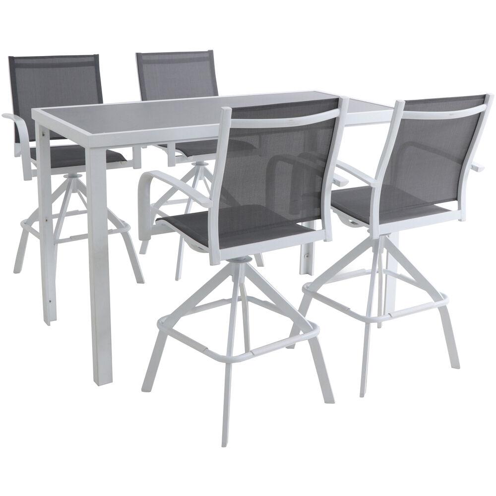 Naples 5pc Bar Set: 4 Sling Bar Chairs and Glass Bar Table