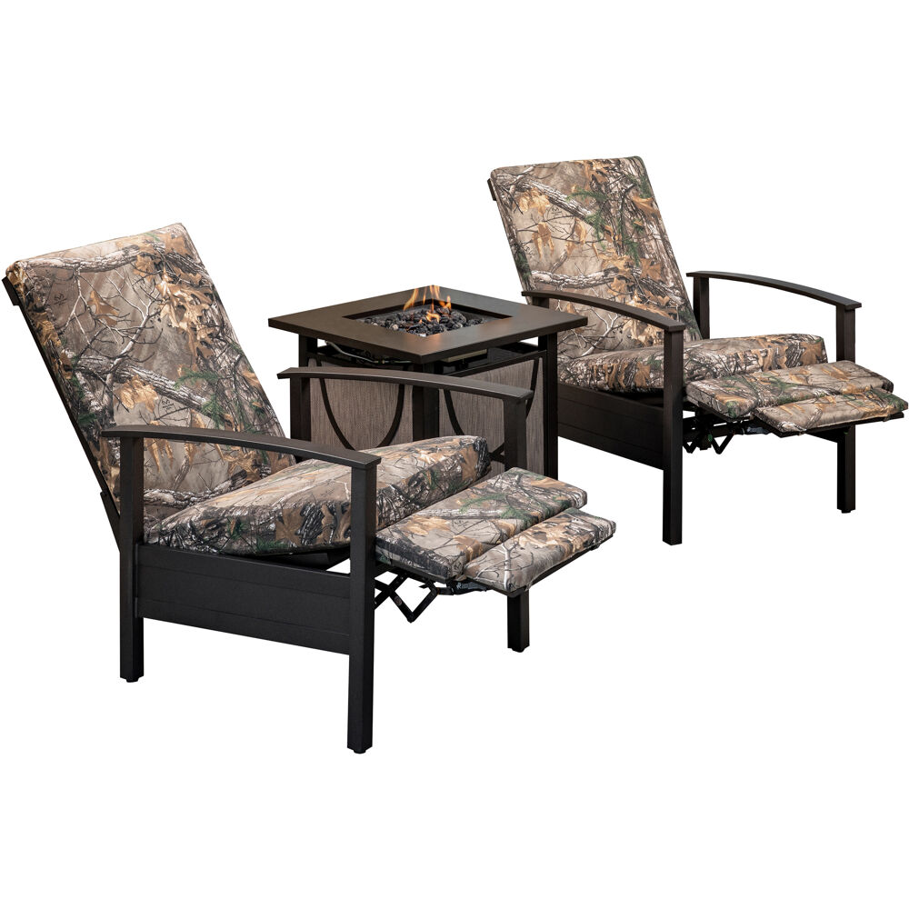 Cedar Ranch 3pc Set: 2 Camo Recliners and Sling Fire Pit