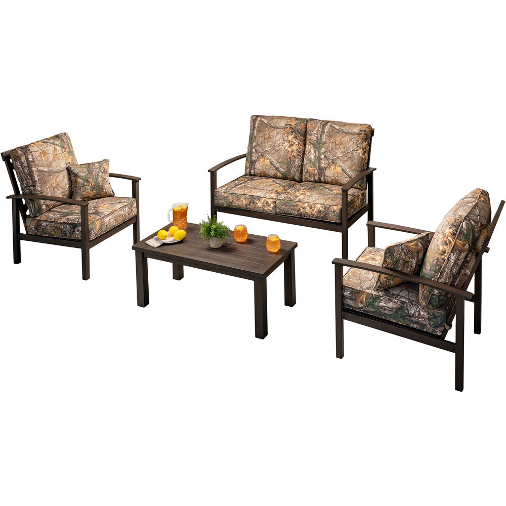 Cedar Ranch 4pc Set: 2 Side Chairs, Loveseat, and Slat Coffee Table