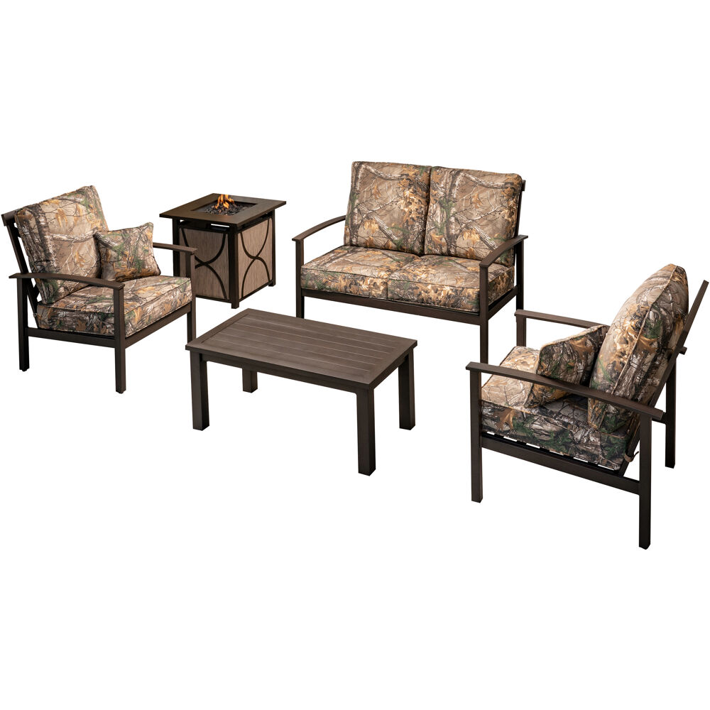 Cedar Ranch 5pc Set: 2 Side Chairs, Loveseat, Slat Coffee Tbl, Sling FP